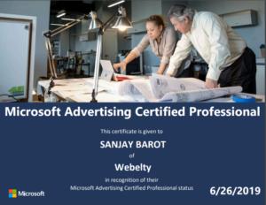 Bing or Microsoft advertising certificate