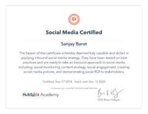 Hubspot social media certificate